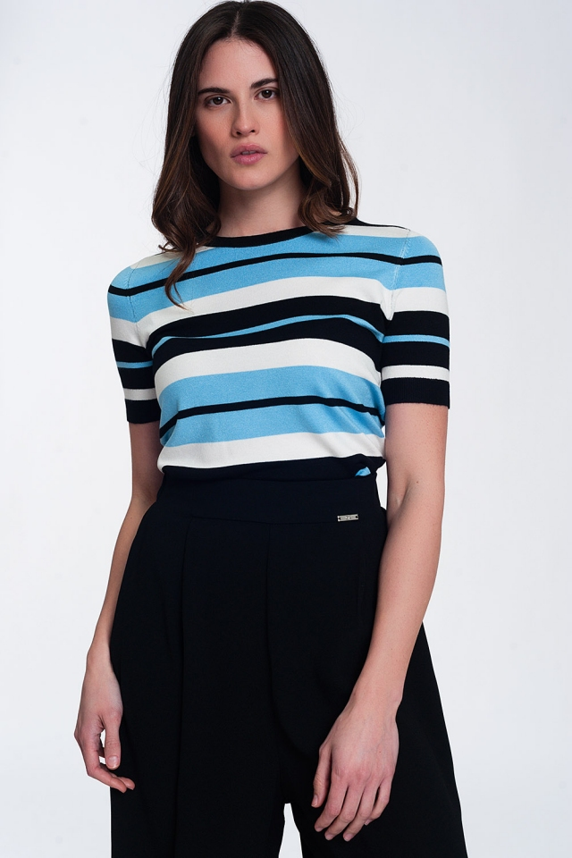 Crew neck boxy jumper with multi stripes in blue