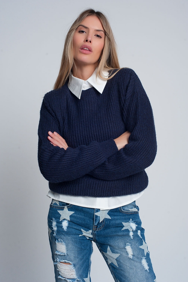 Ribbed jumper in light Navy