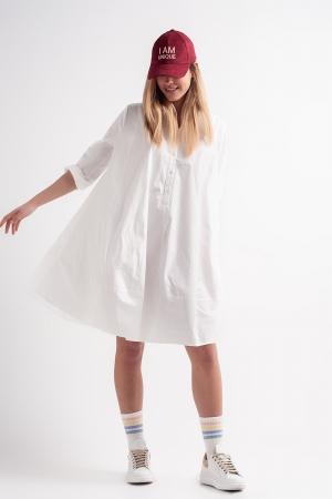 Vestido amplio y extragrande de popelina de algodón en blanco