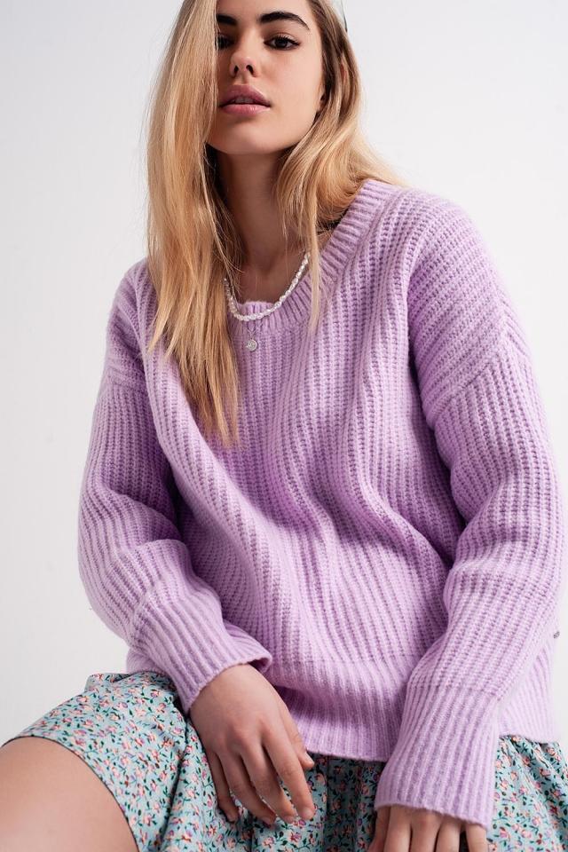 Jersey lila extragrande de canalé de punto estilo boyfriend