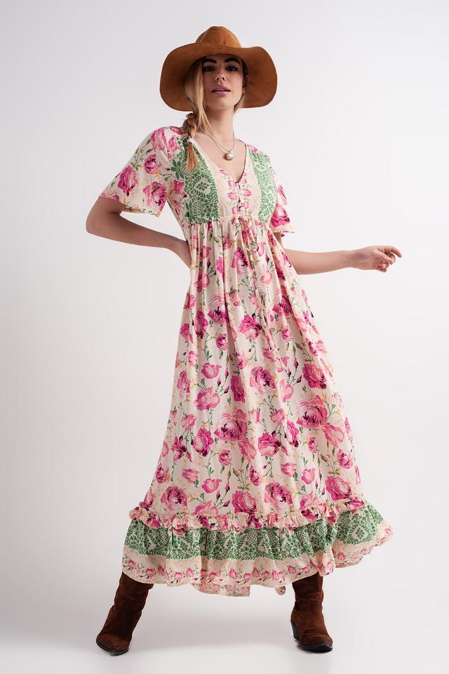Vestido rosa largo holgado con estampado floral llamativo