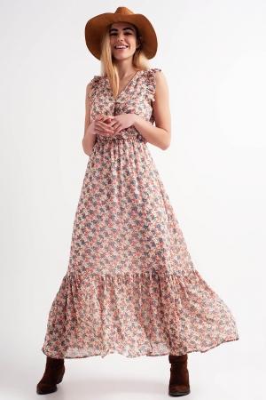 Vestido largo con diseño escalonado y estampado floral en rosa