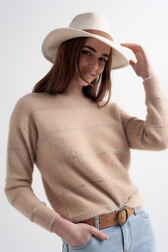 Jersey de punto mullido con textura en beige