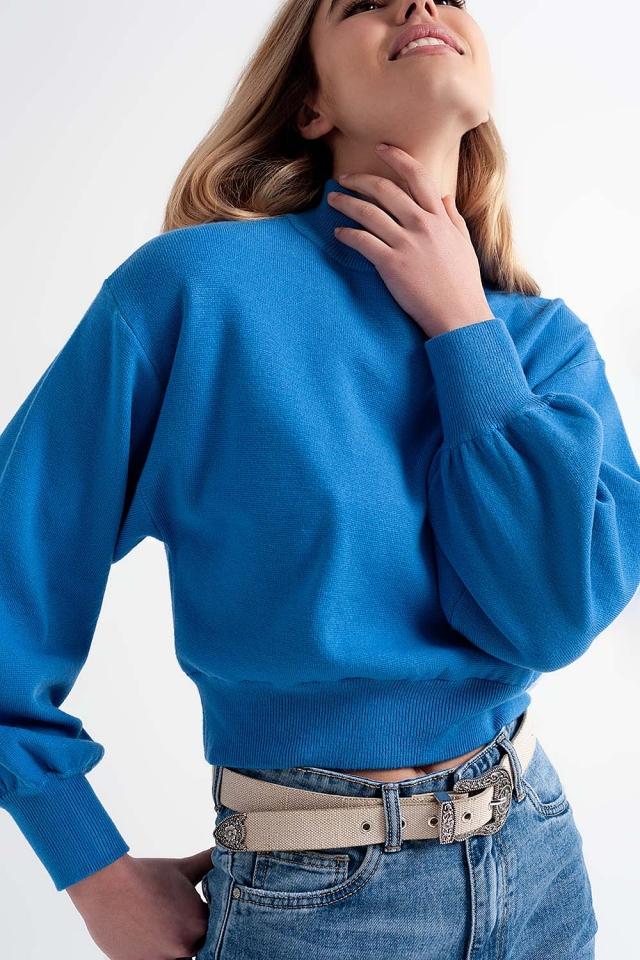 Jersey corto con cuello alzado color azul