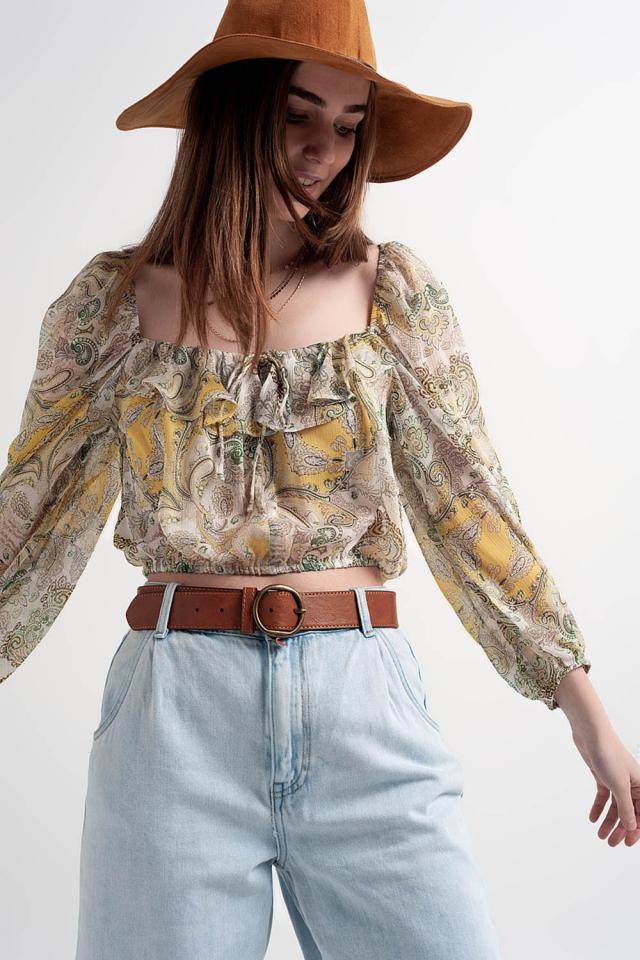Top transparente de manga larga con cintura fruncida y detalle anudado de cachemir