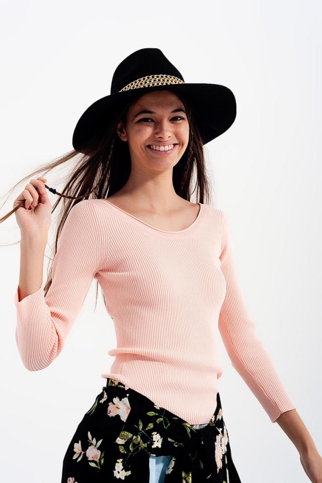 Jersey de punto con cuello amplio en rosa
