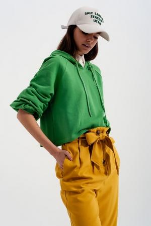 Sudadera cuadrada corta con capucha y cuello de pico en verde