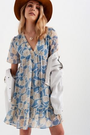 Vestido corto estilo Babydoll en estampado de flores azul