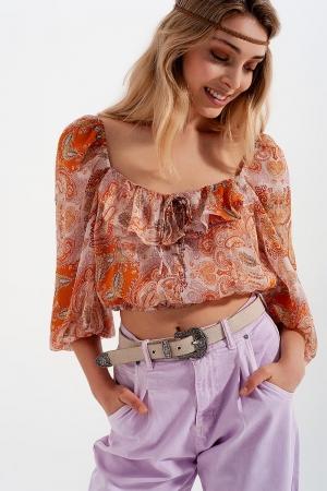 Top transparente de manga larga con cintura fruncida y detalle anudado de naranja