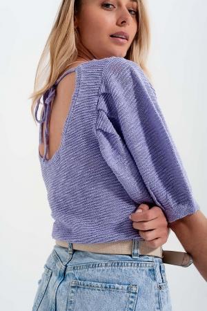 Top color violeta de punto con manga corta