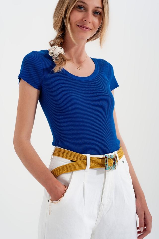 Camiseta ajustada de punto de canalé con cuello redondo en azul