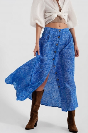 Falda midi con parte delantera abotonada en azul