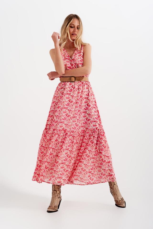 Vestido largo sin mangas con estampado de florecitas en rosa