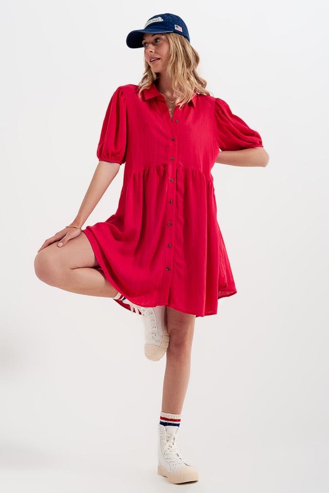 Vestido camisero corto rojo amplio