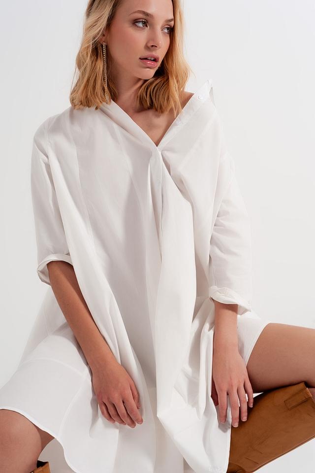 Vestido camisero de popeline extragrande blanco