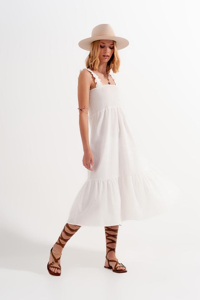 Vestido midi de verano de popeline blanco con detalle fruncido