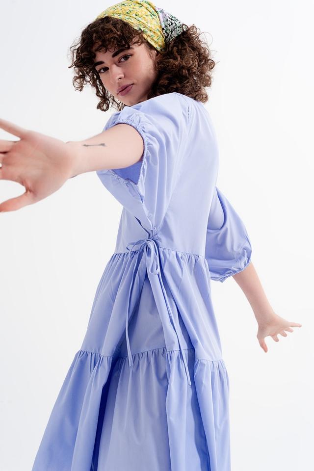 Vestido ancho color lila con manga corta