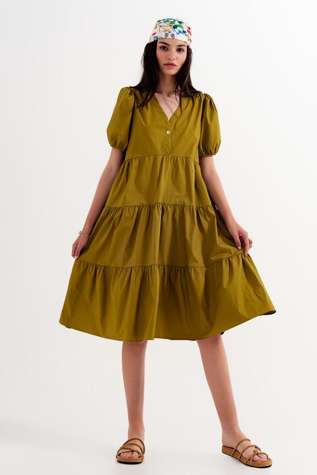 Vestido monocolor verde de largo medio