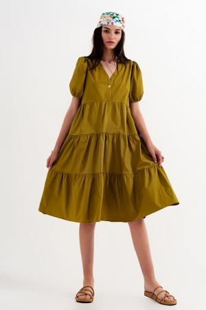 Vestido corto amplio estilo casual con parte delantera cruzada en popelina de algodón