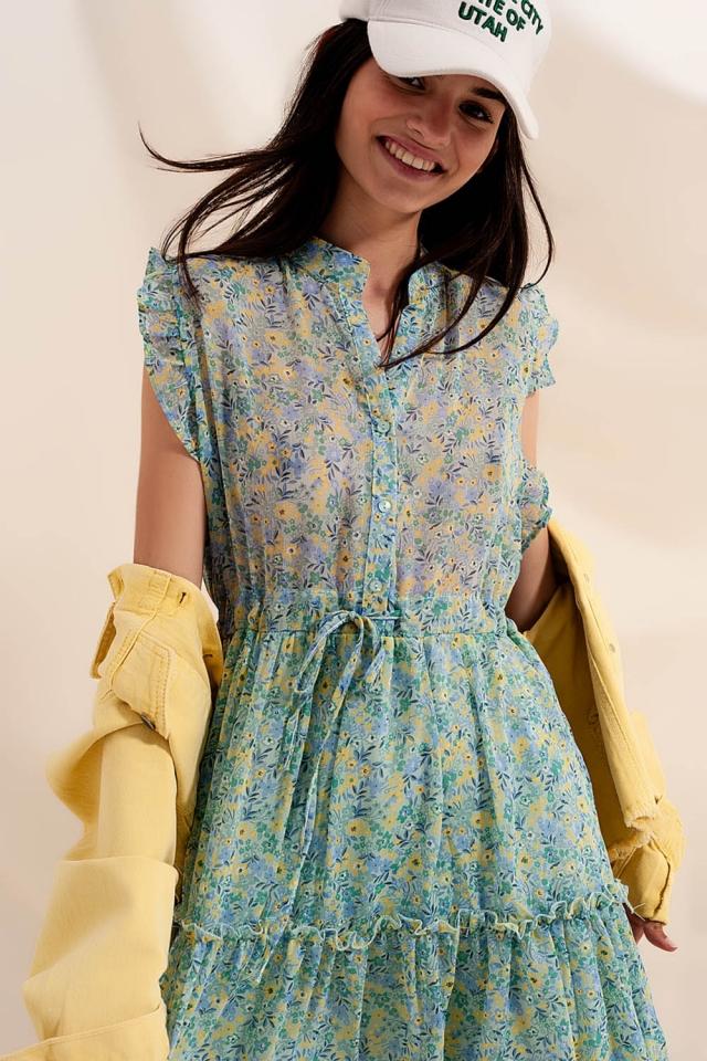 Vestido corto con bordes de volantes y flores estilo vintage color verde