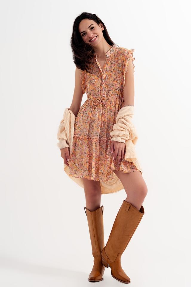 Vestido corto con bordes de volantes y flores estilo vintage color coral