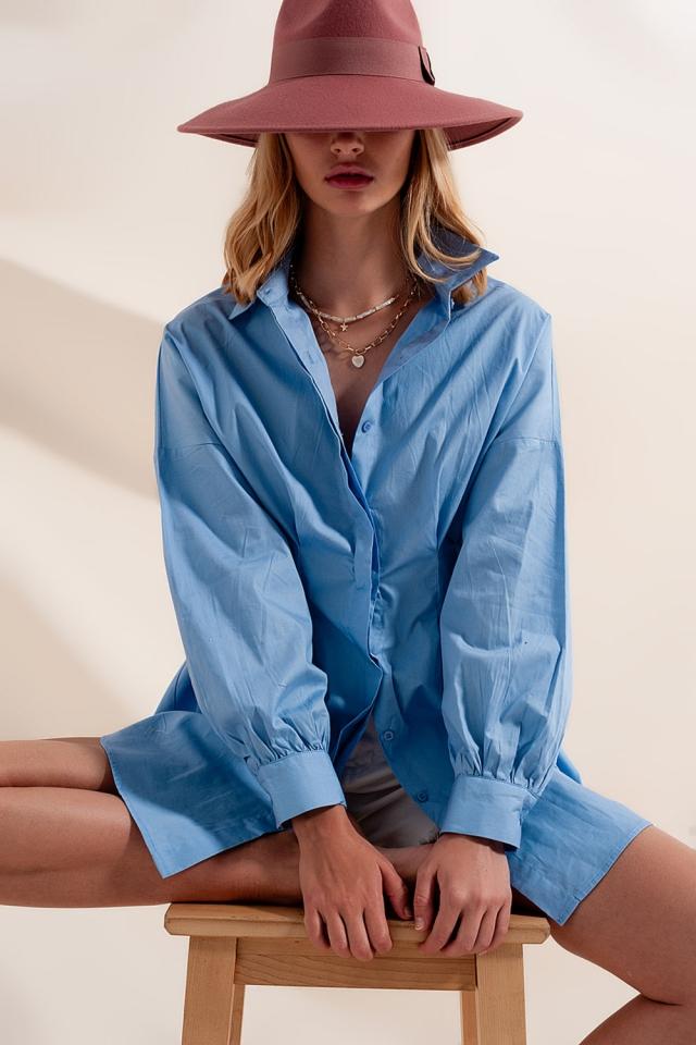 Camisa azul de popeline manga larga