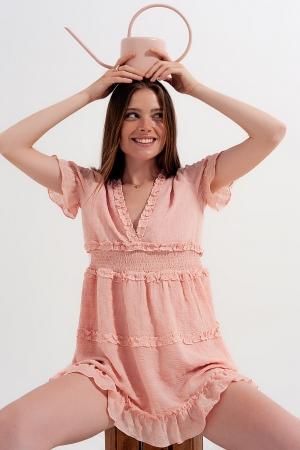 Vestido de tarde rosa claro con cintura fruncida