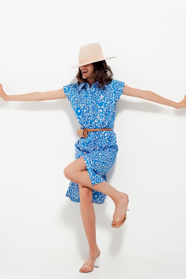 Vestido sin mangas con estampado floral llamativo de algodón en azul