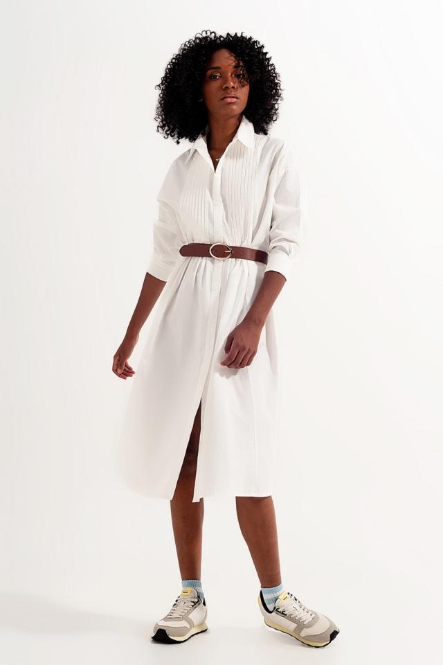 Vestido camisero midi blanco de algodón