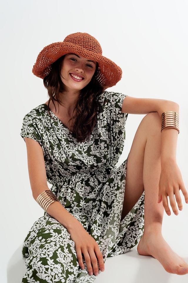 Maxi vestido con estampado floral verde