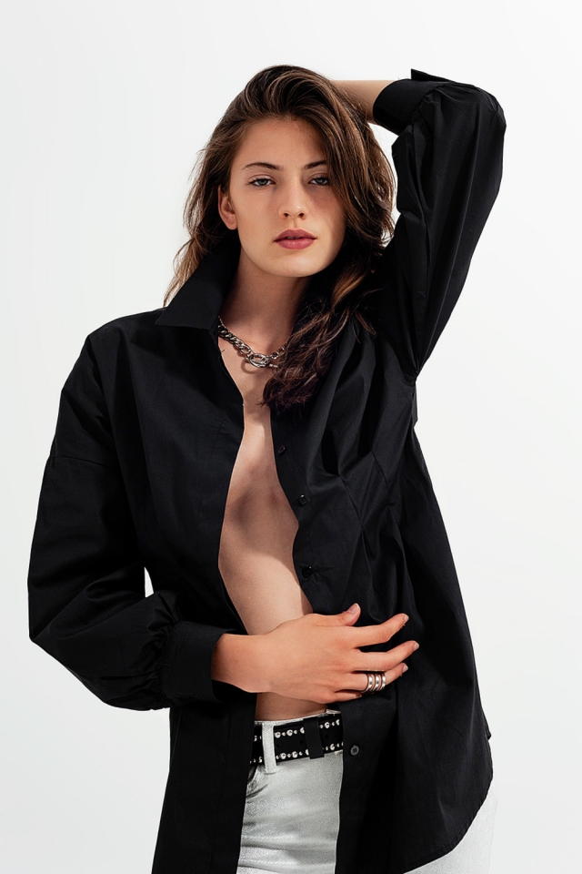 Camisa negra de popeline manga larga