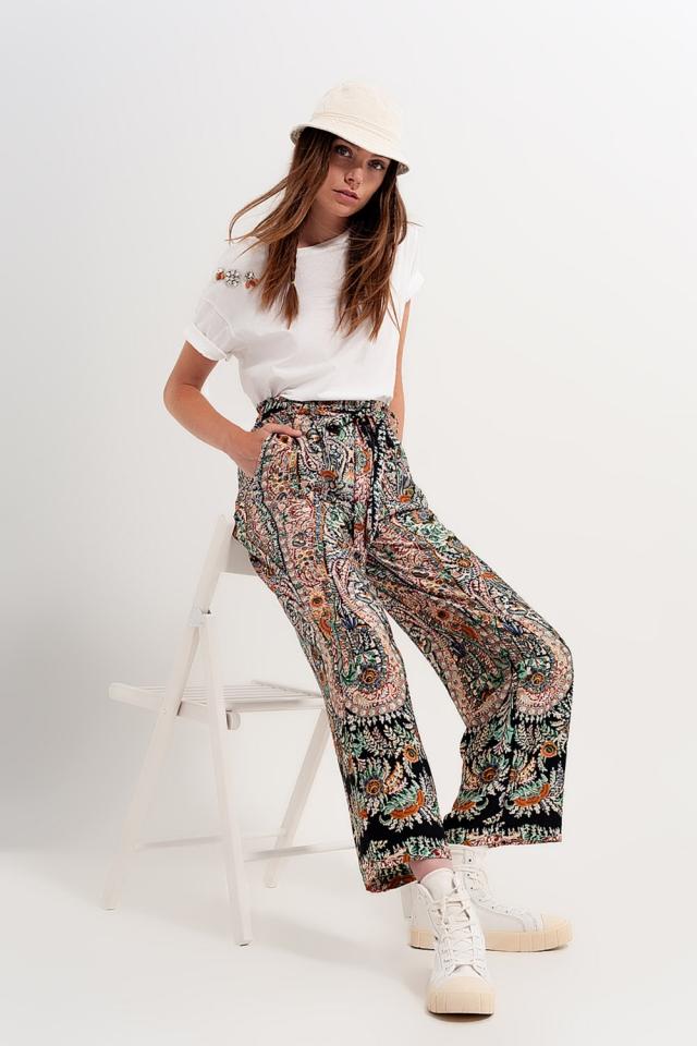 Pantalones de pernera ancha con estampado de cachemir y acabado sedoso