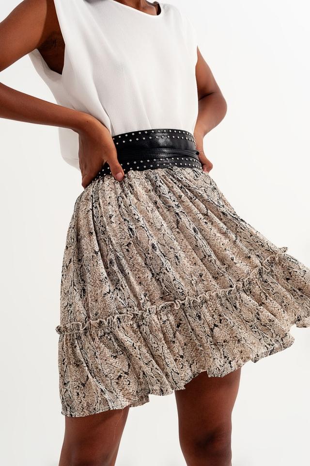 Mini falda con estampado de serpiente