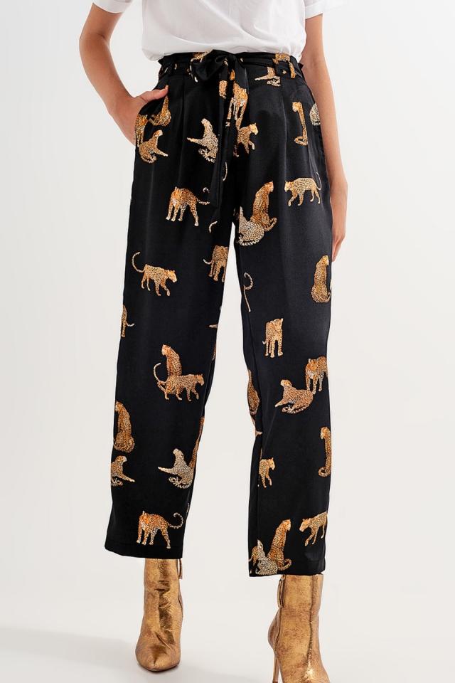 Pantalones negros con estampado de tigre