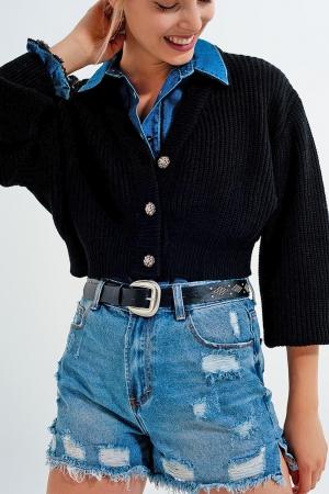 Cárdigan negro con manga larga y detalle de botones de strass