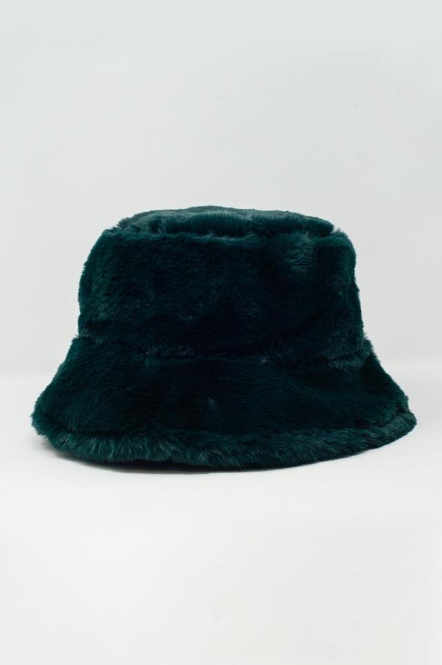 Sombrero de pescador verde con forro de borreguito reversible