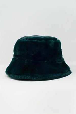 Sombrero reversible de pescador verde con forro de borreguito
