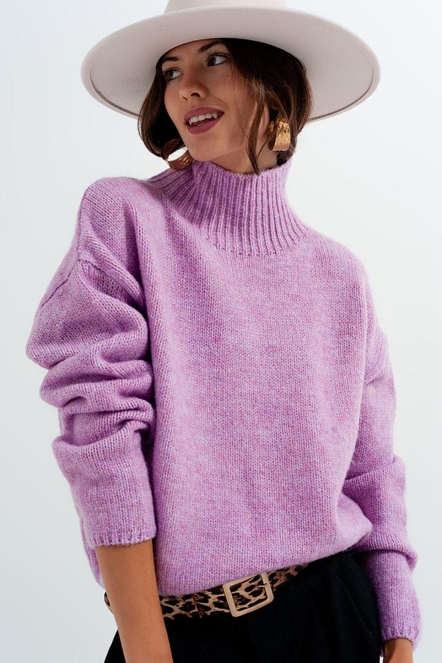 Jersey violeta holgado con cuello moldeado de punto