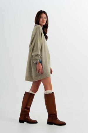 Jersey largo en color caqui estilo vestido de punto