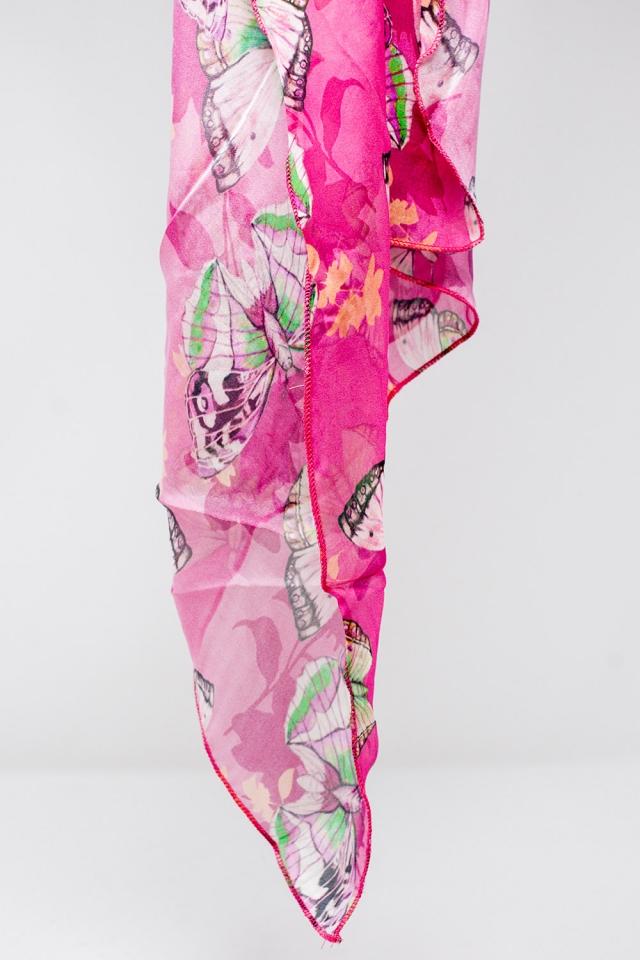 Fular fucsia de seda con estampado de mariposas