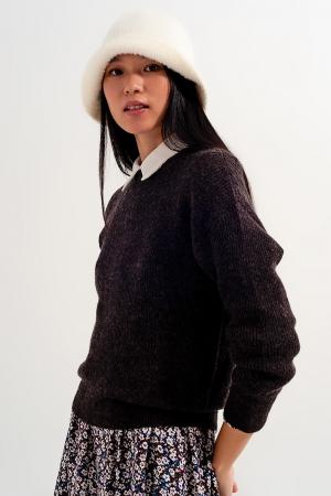 Jersey con cuello redondo color chocolate