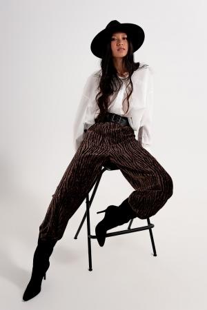 Pantalones de terciopelo estampados de pernera ancha