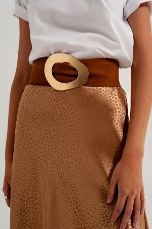 Cinturón marrón tostado para cintura y cadera de ante