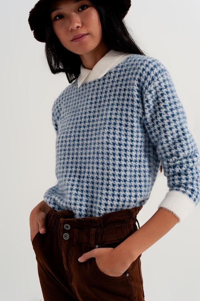Jersey de felpa con estampado de pata de gallo en azul