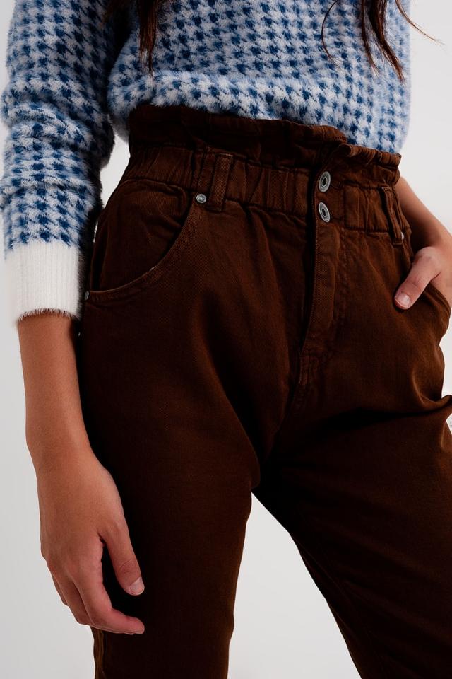 Vaqueros Mom con cintura elástica paperbag en marron