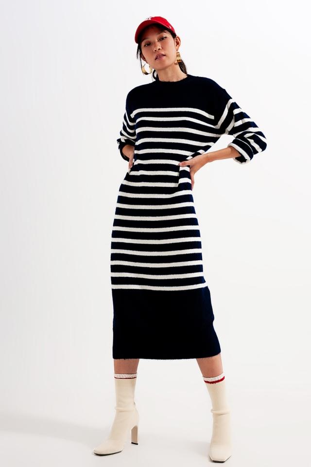 Vestido midi holgado estilo camiseta a rayas bretonas