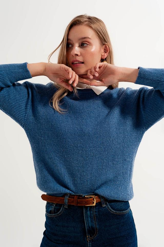 Jersey con cuello redondo color azul