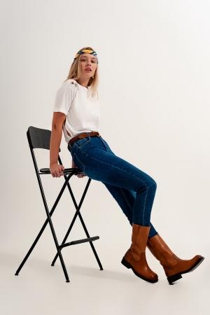 Jeans ajustados de talle alto en azul oscuro con elástico de alta calidad