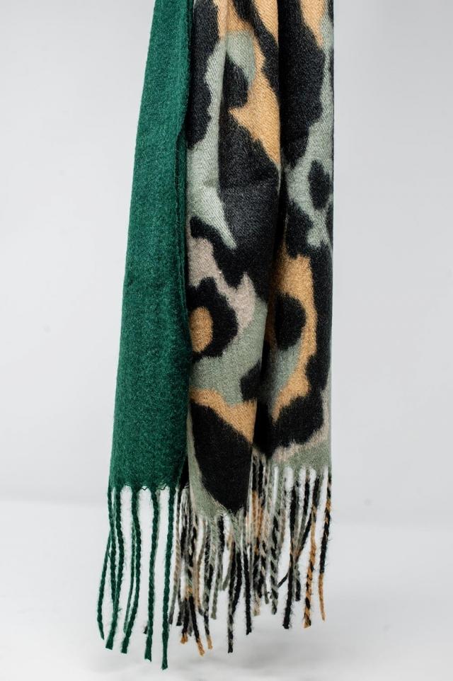 Bufanda con estampado de leopardo y flecos