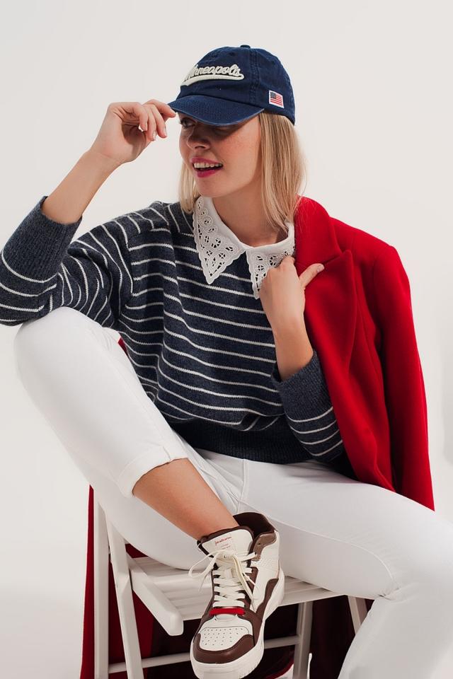 Jersey a rayas blancas y azules cuello redondo